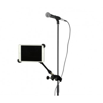 "iPad Air 2 Tripod Microphone Stand Camera Clamp Mount + 11"" Rock Solid Extension Arm"