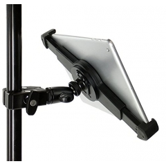 G10 Pro iPad Universal Tablet Tripod Monopod Mic Music Stand Mount + HD Metal Pipe Pole Bar Clamp Fits 7-10.5 inch Tablets