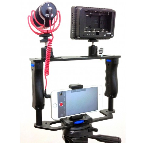 iShot Pro Universal 360° Adjustable Premium ALL METAL Filmmaking Video Rig Stabilizer Kit Camera Cage for iPhone Samsung Android Google Sony GoPro Action Cameras