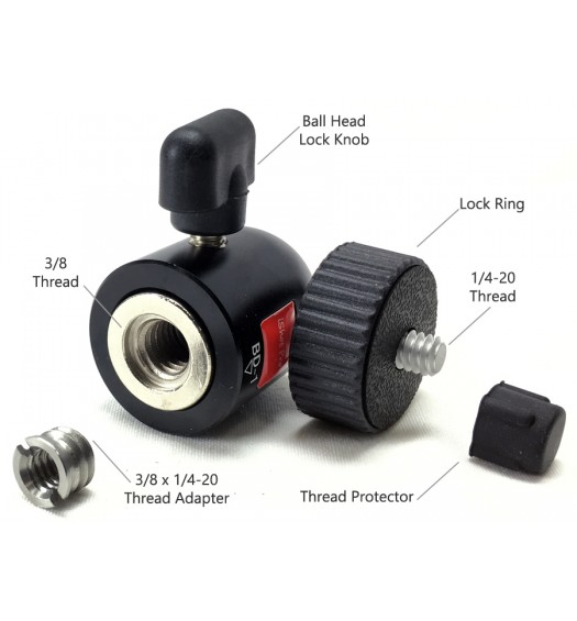 Powerful Mini 1/4-20 Thread 360° Locking Swivel Ball Head for SLR Camera, Tripods, GoPro, iShot Pro Mounts and More