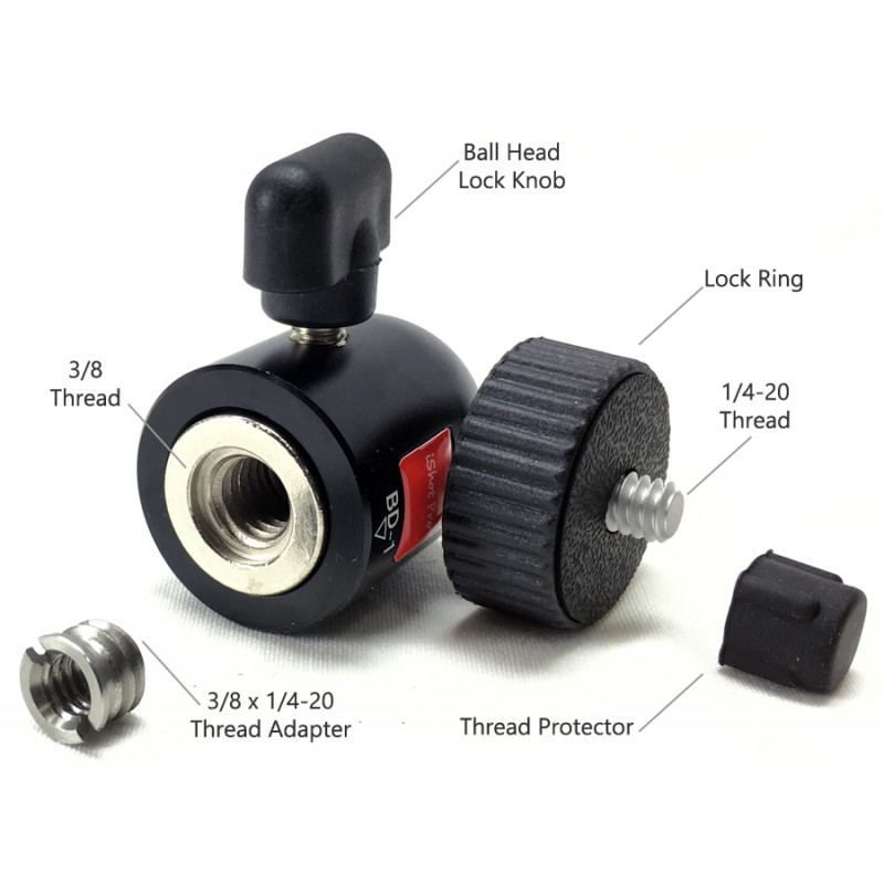 Powerful Mini 1 4 20 Thread 360 176 Locking Swivel Ball Head