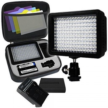 iShot Pro 160 LED Video Photo Light High Brightness Lumen Value, Dimmable Switch with Color Filter Gel, Battery, Charger, Hard Shell Case Included
