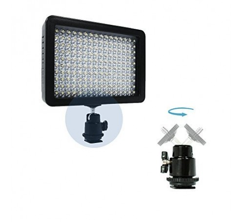 led camera video light, led camera light, dslr camera light, 160 led camera video lamp light, cannon led light, nikon led light, photography light, led lights, camera light kit, makayama movie mount, makayama ipad tripod mount, grifiti nootle ipad tripod,