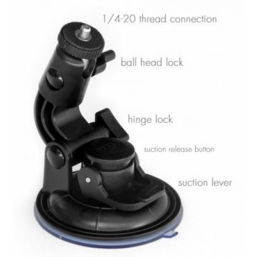 Powerful 3.5 inch Suction Mount with 360° Ball 1/4-20 Thread - For GoPro, iShot Mounts, Cameras, LED Lights and More