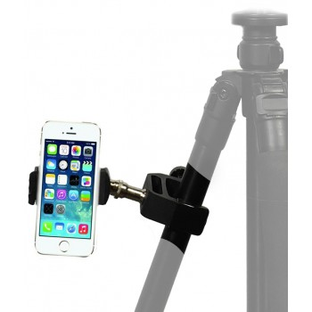 iPhone Smartphone Mic Music Stand Bar Pole Desk Counter Top Golf Cart Clamp + Tripod Mount Adapter
