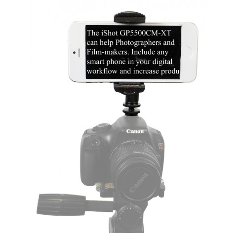 "iShot GP5500CM-XT iPhone Smartphone SLR Camera Teleprompter Hot/Cold Shoe Tripod Mount Adapter + 11"" Extension Arm"