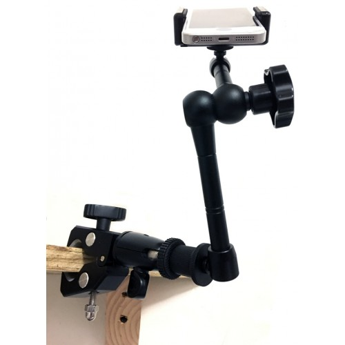 iShot GP5500C-XT iPhone Smartphone C-Clamp Tripod Mic Wheelchair Mount and Stand Holder Bracket + 11 inch 360° Articulating Center Lock Arm