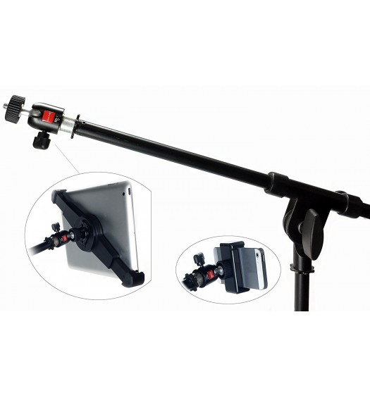 Microphone Music Stand Thread Screw Reducer Converter Adapter + 360° Locking Swivel Ball Head - 5/8 to 1/4 inch