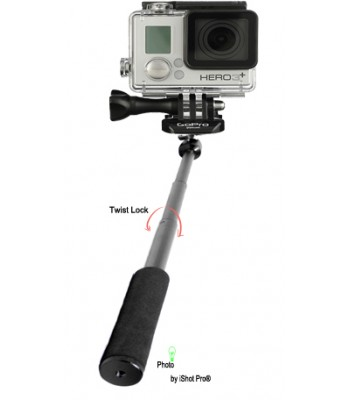 Extendable Handheld Monopod Pole Stick + 360° Locking Swivel Ball Head for GoPro Action Camera
