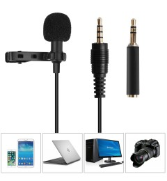 Lavalier Lapel Microphone Omni directional Condenser Microphone Recording Clip-On for Computer PC Macbook iPhone iPod iPad Samsung All Smartphones