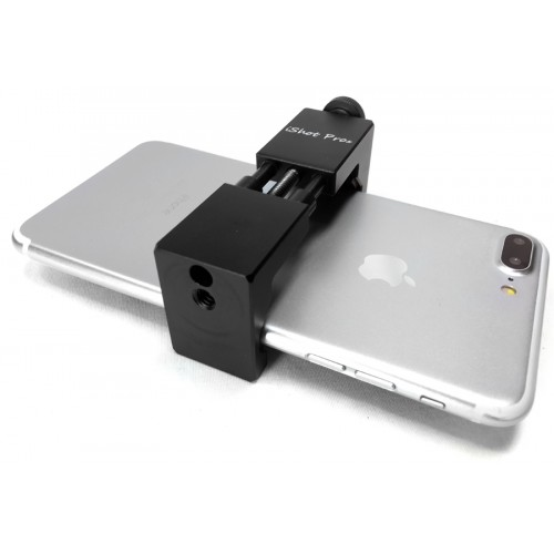 iShot Pro SecureGRIP Metal iPhone Universal Smartphone Tripod Monopod Mount Adapter with Bonus Cold Shoe Mount - Fits All Phones from 2.5 to 3.6 inch