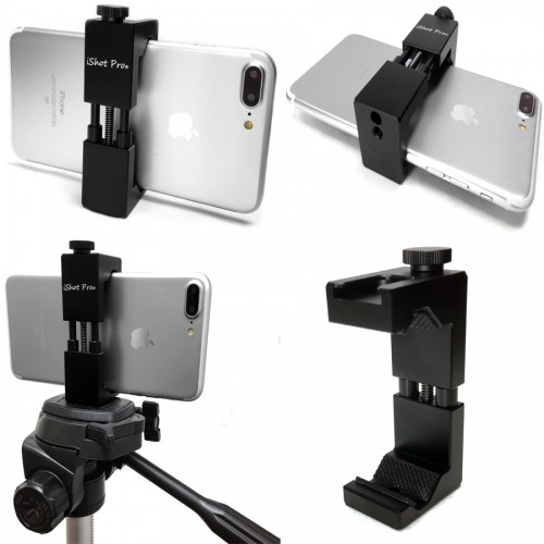 "SecureGrip Metal iPhone Universal Smartphone Tripod Monopod Mount Adapter Holder + 60"" HD Pan Head Camera Tripod with Bag Bundle Kit"