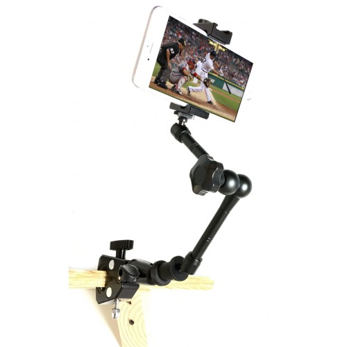 SecureGrip Metal iPhone Universal Smartphone Tripod Mic Music Mount Adapter Holder + 11 inch 360° Extension Arm + HD Pipe Bar Pole Clamp
