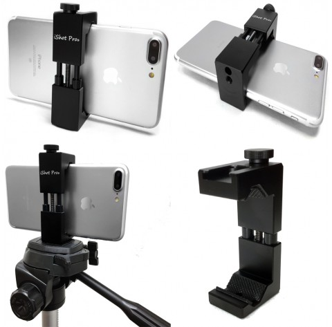 iShot Pro SecureGRIP Metal iPhone Universal Smartphone Tripod Wheelchair Mount Adapter Holder + 11 inch 360° Extension Arm + HD Pipe Bar Pole Clamp