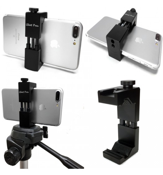 iShot Pro SecureGRIP Metal iPhone Universal Smartphone Tripod Mic Music Mount Adapter Holder + 11 inch 360° Extension Arm + HD Pipe Bar Pole Clamp