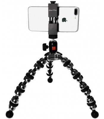 iShot Pro SecureGRIP iPhone Universal Smartphone Tripod Mount Adapter Holder + 360° Ball Head + TigerPod Flexible Tripod