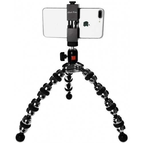 SecureGrip iPhone Universal Smartphone Tripod Mount Adapter + Flexible TigerPod Tripod Stand + 360° Swivel Ball Head