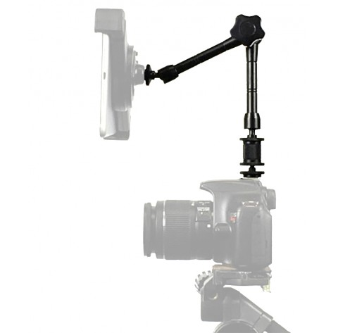 "Articulating Arm Center Lock and Hot Shoe Tripod Adapter Rock Solid 11"" inch Reach with Duel 1/4-20 Threads"