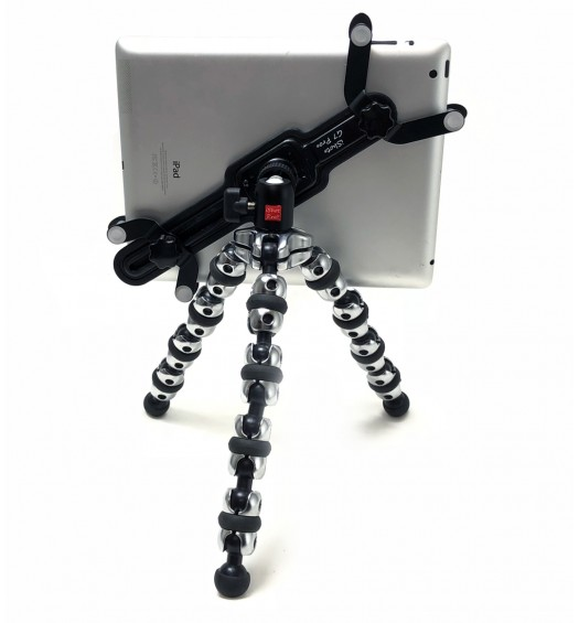 "iShot G7 Pro Metal iPad Pro 12.9 Universal Tablet Tripod Mount Holder Adapter + 360° Swivel Ball Head + TigerPOD Flexible Tripod Stand Kit, Compatible with iPad & 7-13"" Tablets"