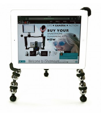 G10 Pro iPad Universal Tablet Tripod Mount Adapter + 360° Swivel Ball Head + Flexible TigerPod Tripod Stand Fits 7-11 inch Tablets