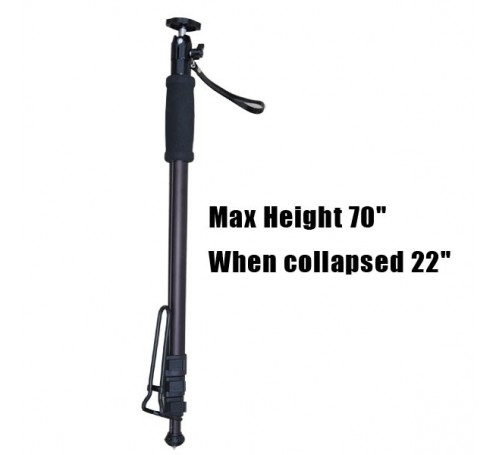 "gopro monopod stick pole, monopod for gopro, 70 inch monopod, monopod, ishot pro monopod, monopod for gopro, handheld monopod for gopro action camera, gopro hero monopod stick pole bar,  ishot pro 70"" professional monopod pole locking medium swivel b"